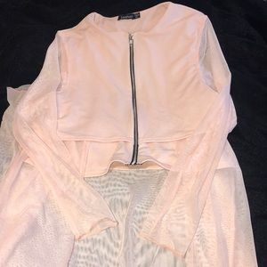BOOHOO PINK HIGH-LOW SHEER DUSTER WITH ZIPPER